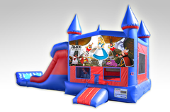 Alice in Wonderland Red and Blue Bounce House Combo w/Dual Lane Dry Slide