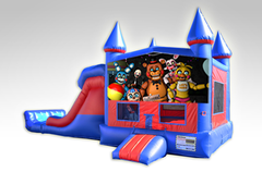 Five Nights at Freddy's Red and Blue Bounce House Combo w/Dual Lane Dry Slide