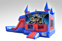 Black Panther Red and Blue Bounce House Combo w/Dual Lane Dry Slide