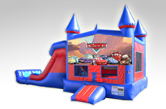 Cars Red and Blue Bounce House Combo w/Dual Lane Dry Slide