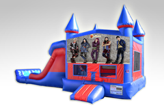 Disney Descendants Red and Blue Bounce House Combo w/Dual Lane Dry Slide