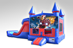 Iron Man Red and Blue Bounce House Combo w/Dual Lane Dry Slide