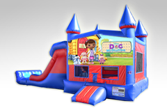 Doc McStuffins Red and Blue Bounce House Combo w/Dual Lane Dry Slide