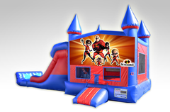 Incredibles Red and Blue Bounce House Combo w/Dual Lane Dry Slide