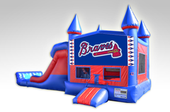 Atlanta Braves Red and Blue Bounce House Combo w/Dual Lane Dry Slide