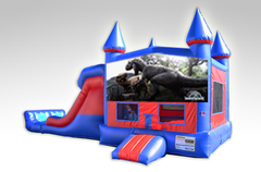 Jurassic World Red and Blue Bounce House Combo w/Dual Lane Dry Slide
