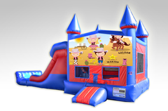 Cowgirls Red and Blue Bounce House Combo w/Dual Lane Dry Slide