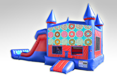 Doughnuts Red and Blue Bounce House Combo w/Dual Lane Dry Slide