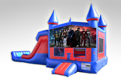 Justice League Red and Blue Bounce House Combo w/Dual Lane Dry Slide