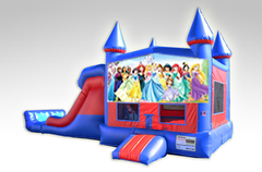 Disney Princess Red and Blue Bounce House Combo w/Dual Lane Dry Slide