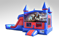 Fortnite Red and Blue Bounce House Combo w/Dual Lane Dry Slide