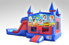 Mermaids Red and Blue Bounce House Combo w/Dual Lane Dry Slide