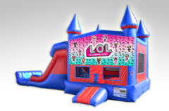 LOL Red and Blue Bounce House Combo w/Dual Lane Dry Slide