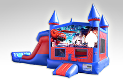Big Hero 6 Red and Blue Bounce House Combo w/Dual Lane Dry Slide