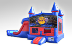 Los Angeles Lakers Red and Blue Bounce House Combo w/Dual Lane Dry Slide
