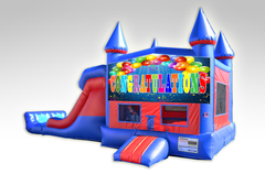 Congratulations Red and Blue Bounce House Combo w/Dual Lane Dry Slide