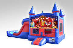 Carnival Red and Blue Bounce House Combo w/Dual Lane Dry Slide