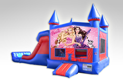 Barbie Red and Blue Bounce House Combo w/Dual Lane Dry Slide