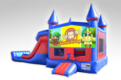 Curious George Red and Blue Bounce House Combo w/Dual Lane Dry Slide