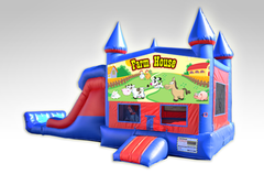 Farm House Red and Blue Bounce House Combo w/Dual Lane Dry Slide