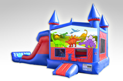 Dinosaurs Red and Blue Bounce House Combo w/Dual Lane Dry Slide