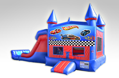 Hot Wheels Red and Blue Bounce House Combo w/Dual Lane Dry Slide