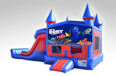 Finding Dory Red and Blue Bounce House Combo w/Dual Lane Dry Slide