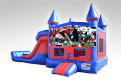 Alabama vs Auburn Red and Blue Bounce House Combo w/Dual Lane Dry Slide