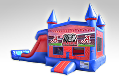 Alabama Red and Blue Bounce House Combo w/Dual Lane Dry Slide