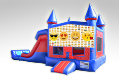 Emoji's Red and Blue Bounce House Combo w/Dual Lane Dry Slide