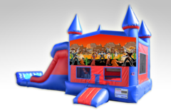 Cowboys Red and Blue Bounce House Combo w/Dual Lane Dry Slide