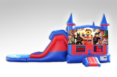 Lego Movie Red and Blue Bounce House Combo w/Dual Lane Water Slide