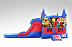 Lego Ninjago Red and Blue Bounce House Combo w/Dual Lane Water Slide