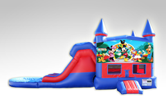 Mickey Mouse Club House Red and Blue Bounce House Combo w/Dual Lane Water Slide