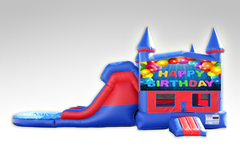 Happy Birthday Red and Blue Bounce House Combo w/Dual Lane Water Slide