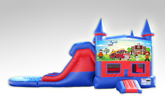 Fireman Red and Blue Bounce House Combo w/Dual Lane Water Slide