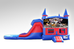 Halloween Red and Blue Bounce House Combo w/Dual Lane Water Slide