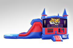 LSU Red and Blue Bounce House Combo w/Dual Lane Water Slide