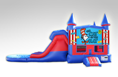 Cat in the Hat Red and Blue Bounce House Combo w/Dual Lane Water Slide