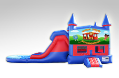 Daniel Tiger Red and Blue Bounce House Combo w/Dual Lane Water Slide