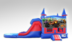 Blaze Red and Blue Bounce House Combo w/Dual Lane Water Slide