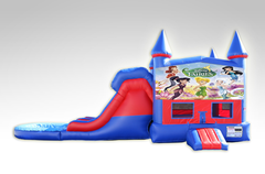Disney Fairies Red and Blue Bounce House Combo w/Dual Lane Water Slide