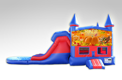Happy Thanksgiving Red and Blue Bounce House Combo w/Dual Lane Water Slide