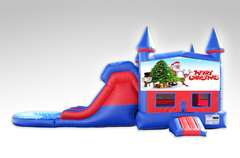 Merry Christmas Red and Blue Bounce House Combo w/Dual Lane Water Slide