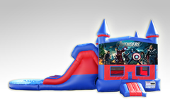 Avengers Red and Blue Bounce House Combo w/Dual Lane Water Slide