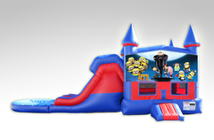 Despicable Me Red and Blue Bounce House Combo w/Dual Lane Water Slide