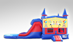 Baby Shower Red and Blue Bounce House Combo w/Dual Lane Water Slide
