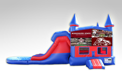 Mississippi State Red and Blue Bounce House Combo w/Dual Lane Water Slide