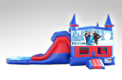 Disney Frozen Red and Blue Bounce House Combo w/Dual Lane Water Slide