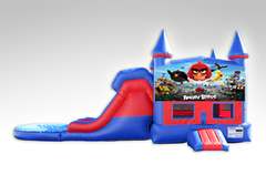 Angry Birds Red and Blue Bounce House Combo w/Dual Lane Water Slide